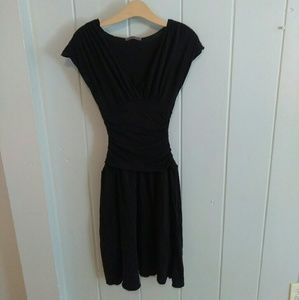 Velvet Brand black ruched and cinched black dress